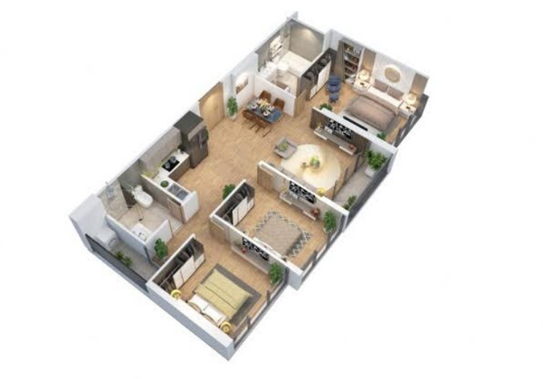Phối cảnh Thiết kế căn hộ 3 phòng ngủ Eco-Green Sài Gòn: Tinh tế - Sang trọng