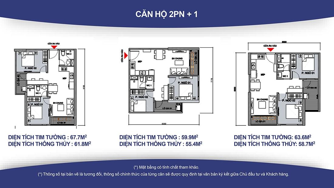 Thiết kế Căn hộ Vinhomes Grand Park 2 phòng ngủ + 1 – 1 toilet