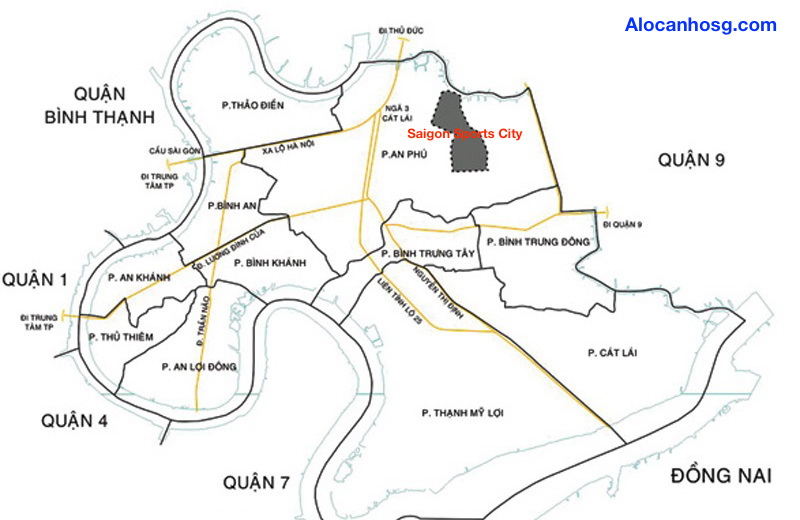 Vị trí khu phức hợp Saigon Sports City Quận 2, TP.HCM