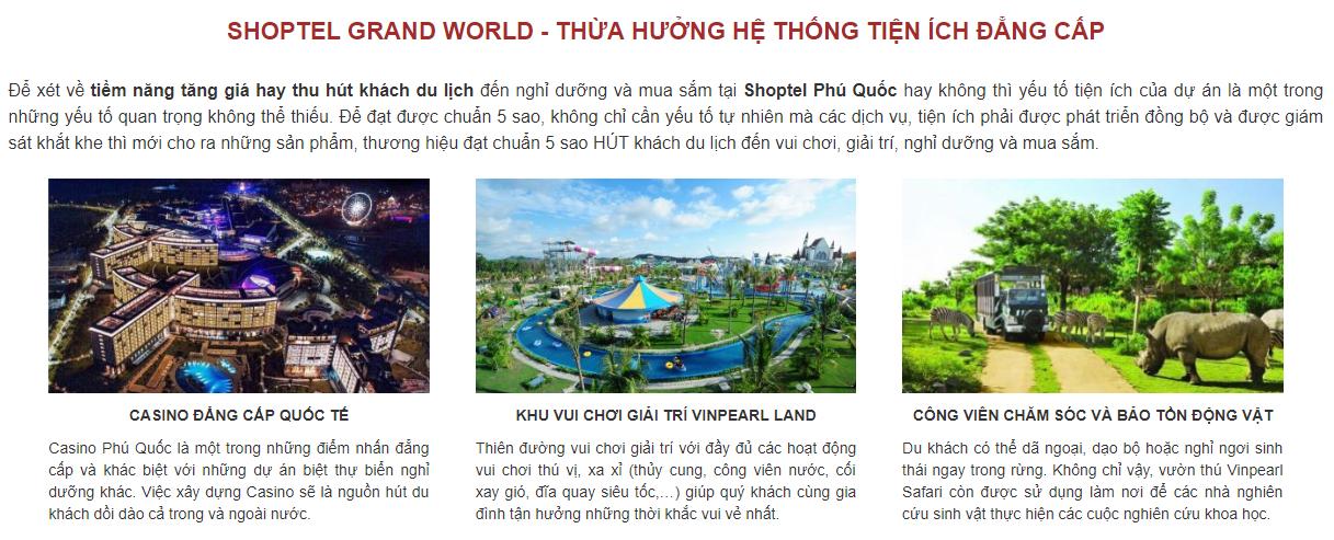 Dịch vụ tiện ích Grand World Phú Quốc