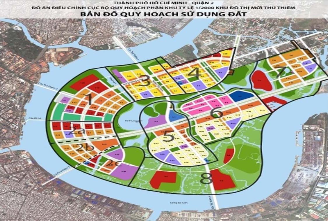 bản đồ đất Thủ Thiêm, Quận 2.