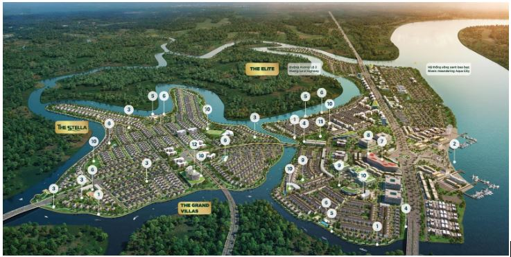 View 360 Aqua City sa bàn - nhà mẫu